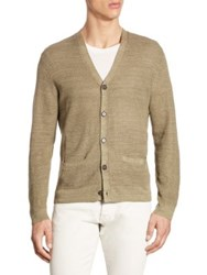 Polo Ralph Lauren Linen And Silk Blend V Neck Cardigan Turf Olive