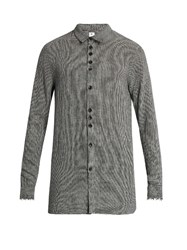 Damir Doma Saba Frayed Edge Wool Blend Shirt White Multi