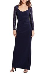 Lauren Ralph Lauren Petite Women's Sequin Sleeve Jersey Column Gown Lighthouse Lighthouse Shine
