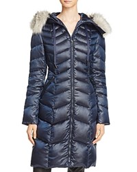 T Tahari Emma Faux Fur Trim Puffer Coat Nightfall