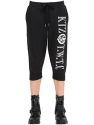 Ktz Cropped Embroidered Cotton Jogging Pants