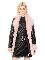 Christopher Kane Patent Leather And Shearling Fur Coat
