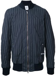 Undercover Striped Bomber Jacket Blue
