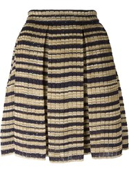 Ermanno Scervino Striped Knit Skirt Nude And Neutrals