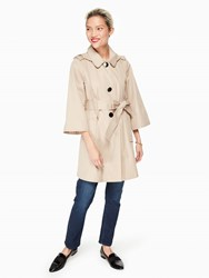 Kate Spade Hooded Twill Coat French Beige