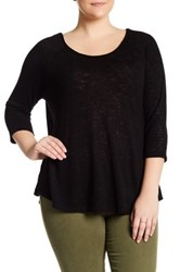 Bobeau Scoop Neck X Back Tee Plus Size Black