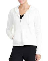 Lauren Ralph Lauren Color Blocked Velour Hoodie Cream