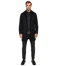 The Kooples Flannel Trenchcoat W Removable Waistcoat Navy