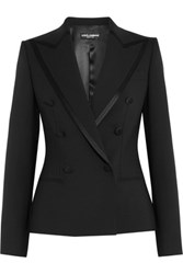 Dolce And Gabbana Satin Trimmed Stretch Wool Silk Blend Blazer Black
