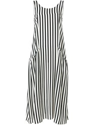Chinti And Parker Flared Striped Sundress Black