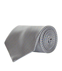 Stefano Ricci Mini Geometric Poppies Tie Unisex Grey
