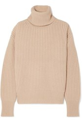 Joseph Pearl Ribbed Wool Turtleneck Sweater Cream