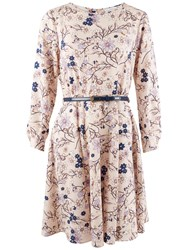 Closet Cuff Sleeve Floral Belted Dress Multi