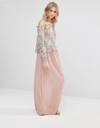 Mango Pleated Maxi Skirt Pink