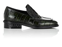 Dries Van Noten Crocodile Stamped Leather Loafers Green
