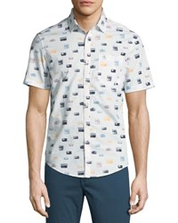 Penguin Radio Print Short Sleeve Sport Shirt White