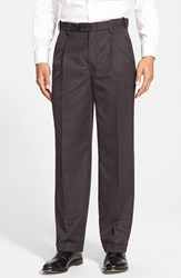 Men's Big And Tall Berle Self Sizer Waist Pleated Trousers Black