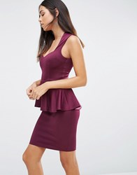 Ax Paris Plunge Front Peplum Mini Dress Plum Purple