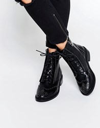 Lost Ink August Pin Stud Brogue Lace Up Flat Ankle Boots Black