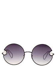 Christopher Kane Rounded Metal And Faux Pearl Sunglasses Black