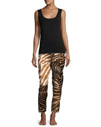 Josie Natori Silk Zebra Print Lounge Pants Natural
