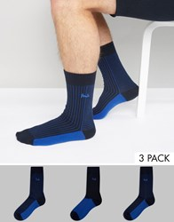 Pringle Block Socks 3 Pack Blue Blue