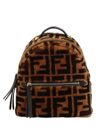 Fendi Logo Printed Shearling Backpack Tobacco
