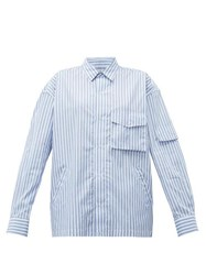 Martine Rose Shock Cord Striped Cotton Shirt Blue