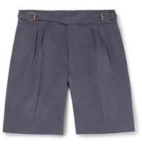 Anderson And Sheppard Brushed Cotton Twill Shorts Navy