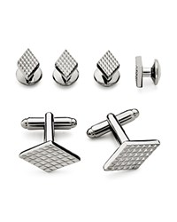 Bloomingdale's The Men's Store At Textured Diamond Stud And Cufflink Set Silver