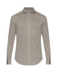 Brunello Cucinelli Spread Collar Cotton Jersey Shirt Grey Multi
