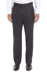 Berle Men's Big And Tall Pleated Solid Wool Trousers Charcoal