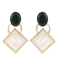 Marni Metal And Horn Earrings Gold