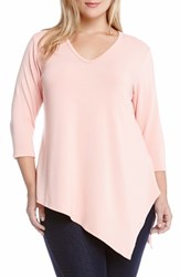 Plus Size Women's Karen Kane Asymmetrical Hem V Neck Knit Top Pink