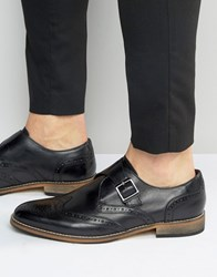 Asos Brogue Monk Shoes In Black Leather Black