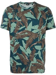 Diesel Feather Print T Shirt Green