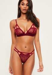 Missguided Burgundy Velvet Detail Triangle Bra