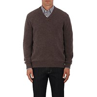 Ermenegildo Zegna Men's Brushed Alpaca Blend V Neck Sweater Tan