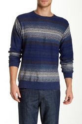 Perry Ellis Crew Neck Stripe Linen Blend Sweater Blue