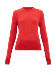 Isabel Marant Flora Padded Shoulder Mohair Blend Sweater Red