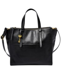 Fossil Campbell Tote Black Gold