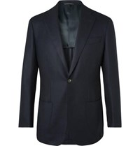 Thom Sweeney Navy Unstructured Wool And Cashmere Blend Blazer Navy