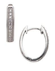 Lord And Taylor Channel Set Cubic Zirconia Sterling Silver Hoop Earrings