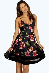 Boohoo Floral Mesh Insert Skater Dress Multi
