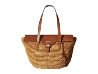 Michael Michael Kors Straw Naomi Large Tote Walnut Tote Handbags Brown