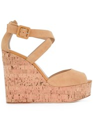 Giuseppe Zanotti Design Peep Toe Wedge Sandals Nude Neutrals