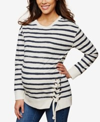 Motherhood Maternity Striped French Terry Sweatshirt Navy White Stripe