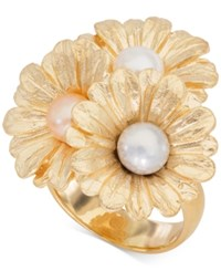 Giani Bernini Cultured Pearl 6Mm Daisy Ring In 18K Gold Plated Sterling Silver