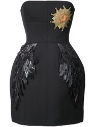 Vera Wang Strapless Structured Dress Cotton Ostrich Feather Virgin Wool Black