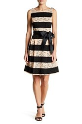 Robbie Bee Lace Stripe Sash Fit And Flare Dress Multi